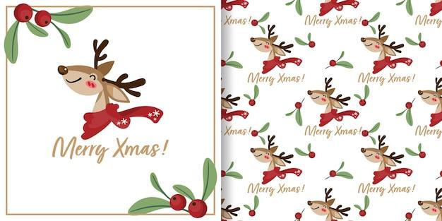 Kerstbanner en naadloos patroon van rendieren dragen sjaal en hulstbessentakken