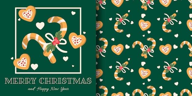 Kerstbanner en naadloos patroon van zuurstokken met hulstbessentak en hartvormige koekjes