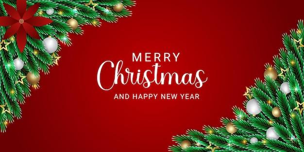 Kerstbanner groen blad met rode banner gouden en witte bal gouden sterren