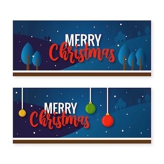 Kerstbanner horizontaal met blauwe achtergrond