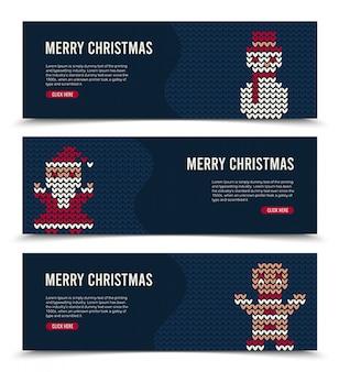Kerstbanner ingesteld voor sociale media met gebreide personages