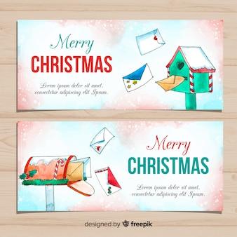 Kerstbanner met aquarel stijl mail
