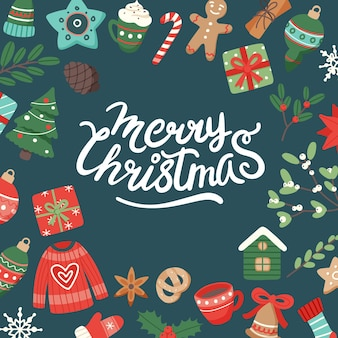 Kerstbanner met letters en leuke seizoenselementen