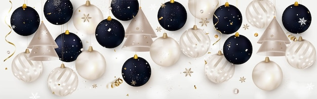 Kerstbanner met realistische kerstballen