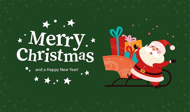 Kerstbanner met schattig gelukkig santa claus-karakter, slee vol cadeautjes, tekst merry christmas-groet op groene besneeuwde achtergrond. platte vectorillustratie. voor kaart, pakket, web, uitnodiging.