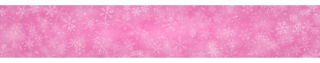 Kerstbanner van sneeuwvlokken in verschillende vormen, maten en transparantie op roze achtergrond