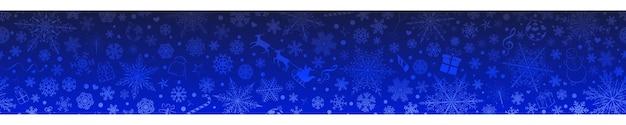 Kerstbanner van verschillende sneeuwvlokken en vakantiesymbolen, in blauwe kleuren