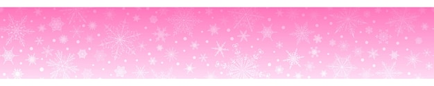 Kerstbanner van verschillende sneeuwvlokken, in roze kleuren