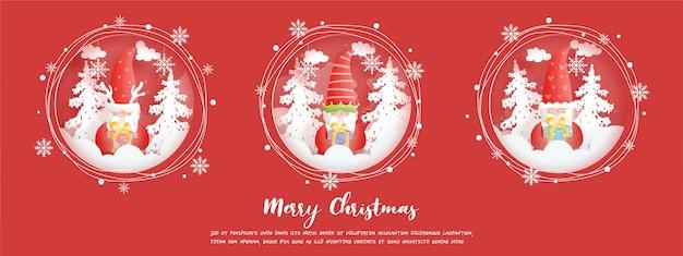 Kerstbanner, vieringen met kabouters
