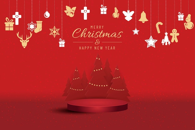 Kerstbanner voor huidig product met kerstboom op rode achtergrond. tekst prettige kerstdagen en gelukkig nieuwjaar.