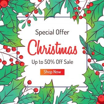 Kerstbanner voor korting of winkelen verkoop met kleurrijke bladeren