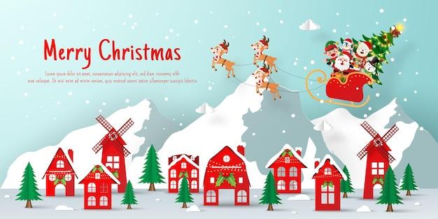 Kerstbannerpapier gesneden illustratie van de kerstman en vriend die naar het dorp komen