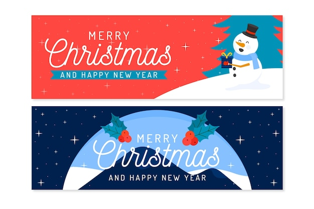 Kerstbanners in plat ontwerp