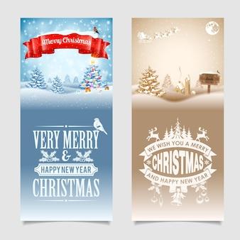 Kerstbanners met boom, geschenken, lint, etiketten, houten bord, kerstman en goudvink op besneeuwde achtergrond. vector sjabloon voor cover, flyer, brochure, wenskaart.