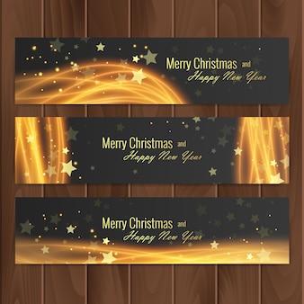 Kerstbanners op houten ondergrond