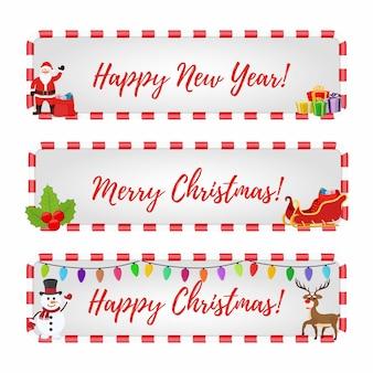 Kerstbanners voor kortingen op verkoop