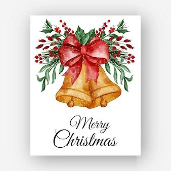 Kerstbel met bessen arrangement aquarel illustratie