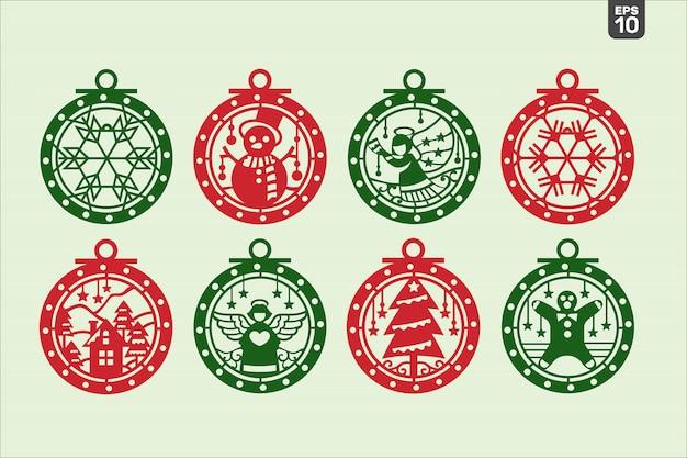 Kerstbollen set. snijbestand voor sticker en decoratie