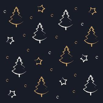 Kerstbomen gekrabbel tekening groet gouden blauwe achtergrond