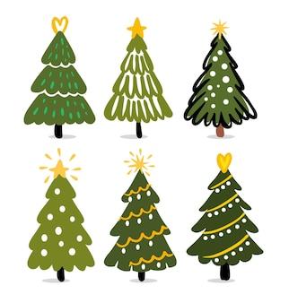 Kerstbomen hand tekenen winter dennenboom nieuwjaar symbolen