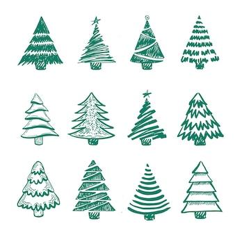 Kerstbomen instellen handgetekende vectorillustratie