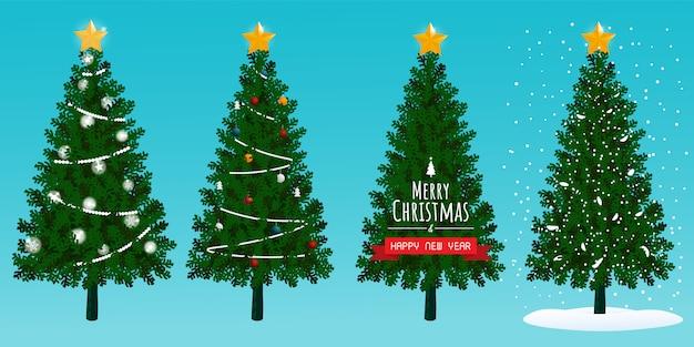 Kerstbomen instellen sneeuw vector