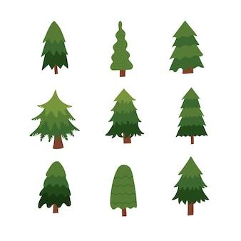 Kerstbomen instellen verschillende sparren collectie isolatie op een witte achtergrond vector platte hand getekend...