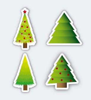 Kerstbomen met schaduw over grijze achtergrond vector