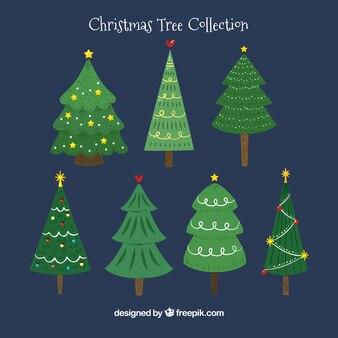 Kerstbomen op een donkerblauwe achtergrond