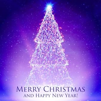 Kerstbomen schijnt op kleurrijke violette achtergrond met achtergrondverlichting en gloeiende deeltjes. abstracte vector achtergrond. gloeiende spar. elegante glanzende achtergrond voor je ontwerp.