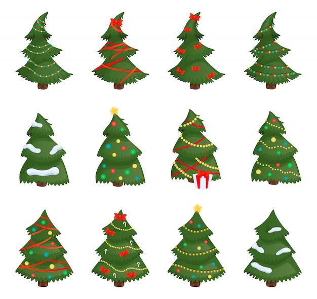 Kerstbomen set geïsoleerd op een witte achtergrond.