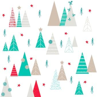 Kerstbomen, vectorhand getrokken elementen, originele kerstmisboom. blauw en roze.