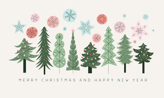 Kerstbomen wenskaart retro kerstbomen met kleurrijke sneeuwvlokken