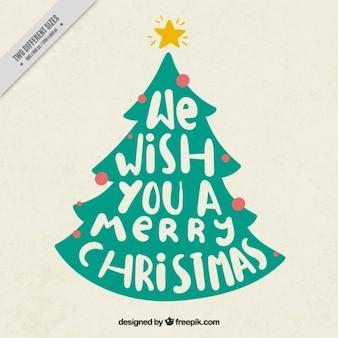 Kerstboom achtergrond met bericht