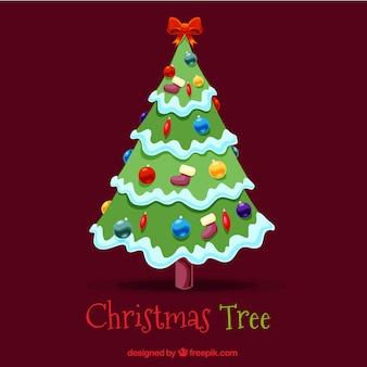 Kerstboom achtergrond met boog en ballen