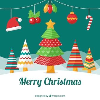 Kerstboom achtergrond met decoratieve elementen