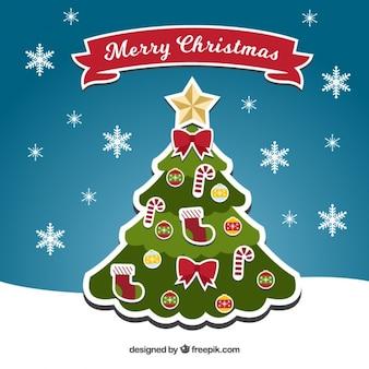 Kerstboom achtergrond met kerstboom en sneeuwvlokken