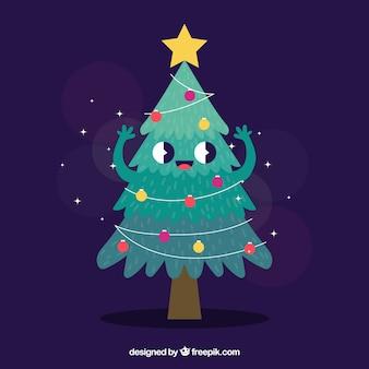 Kerstboom als stripfiguur