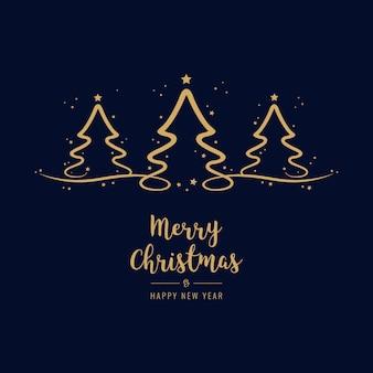 Kerstboom belettering groeten gouden blauwe achtergrond
