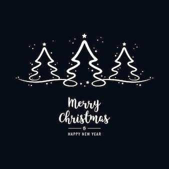 Kerstboom belettering groeten tekst zwarte achtergrond