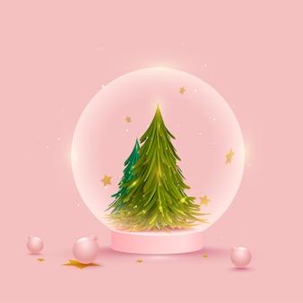 Kerstboom binnen wereldbol met kerstballen op roze achtergrond.