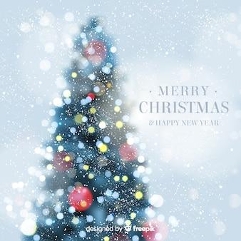 Kerstboom bokeh achtergrond