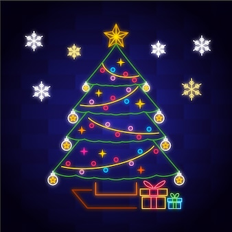 Kerstboom concept neon ontwerp