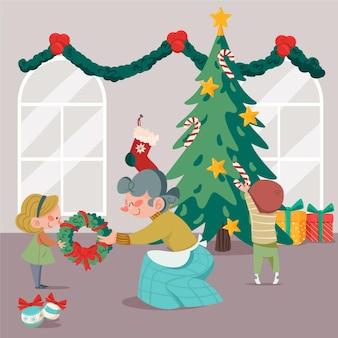 Kerstboom decoratiescène