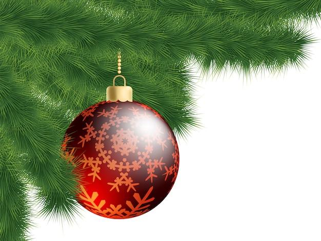 Kerstboom en decoratiebal.