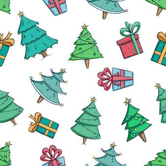 Kerstboom en geschenkdoos naadloze patroon met doodle stijl