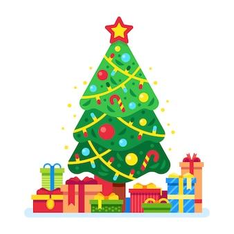 Kerstboom en geschenkdozen