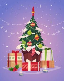 Kerstboom en geschenken. kerst wenskaart achtergrond poster. vector illustratie. vrolijk kerstfeest en een gelukkig nieuwjaar.