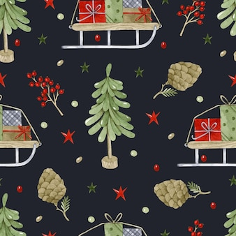 Kerstboom en geschenken op slee naadloze patroon aquarel op donkere achtergrond