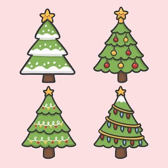 Kerstboom en lichte decoratie instellen hand getrokken cartoon vector